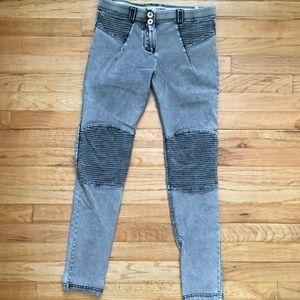 Freddy W.R. UP Mid Rise Moto Acid Wash Gray Jeans